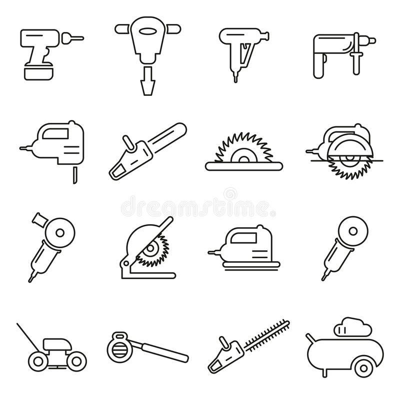 Le macchine utensili o le icone elettriche degli strumenti assottigliano la linea insieme dell'illustrazione di vettore royalty illustrazione gratis