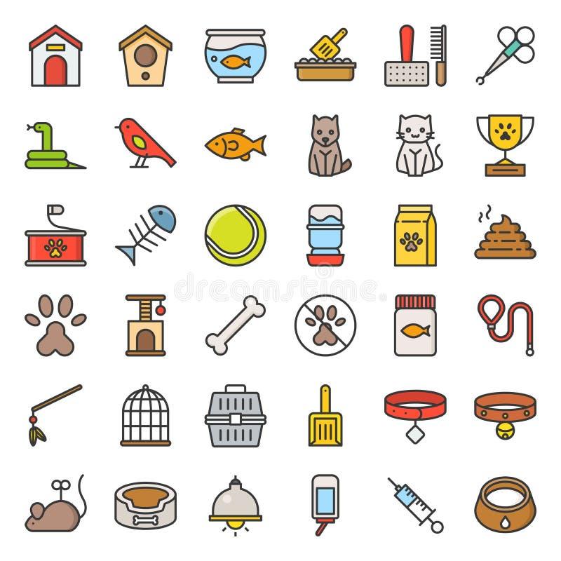 Le magasin de bêtes s'est rapporté et le symbole a rempli vecteur d'icône d'ensemble illustration stock