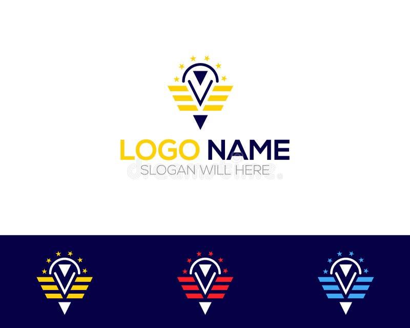 Le magasin en ligne de Flying Company Logo Template dirige l'illustration illustration de vecteur