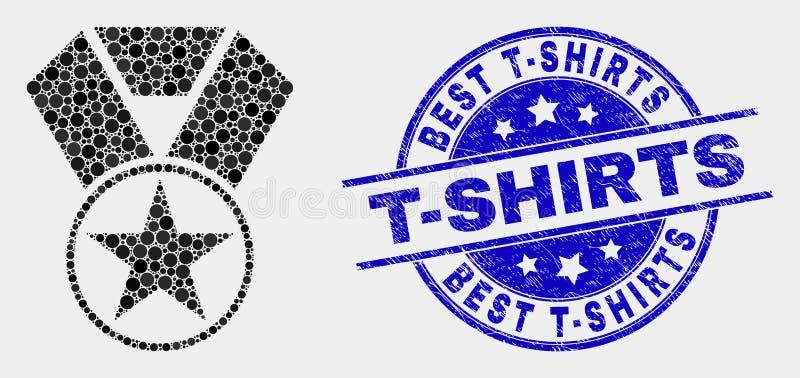 Le magliette del meglio dell'icona e di emergenza del premio della stella del pixel di vettore timbrano illustrazione vettoriale