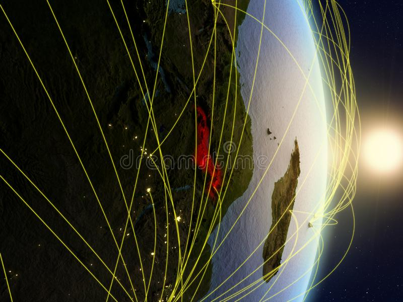 Le Malawi sur la terre reliée au réseau de planète photo libre de droits