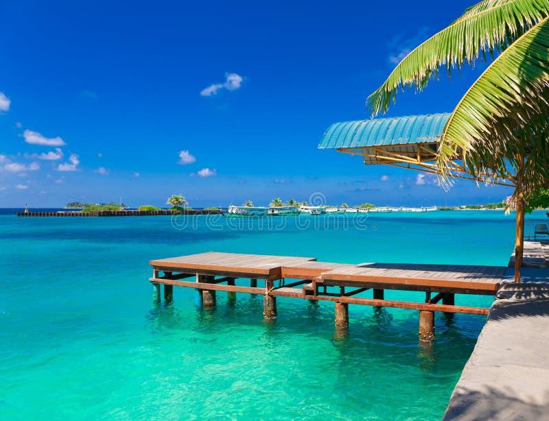 Le Maldive, maschio, ponte di legno fotografie stock