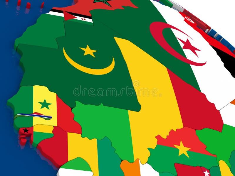 Le Mali et le Sénégal sur 3D tracent avec des drapeaux illustration de vecteur