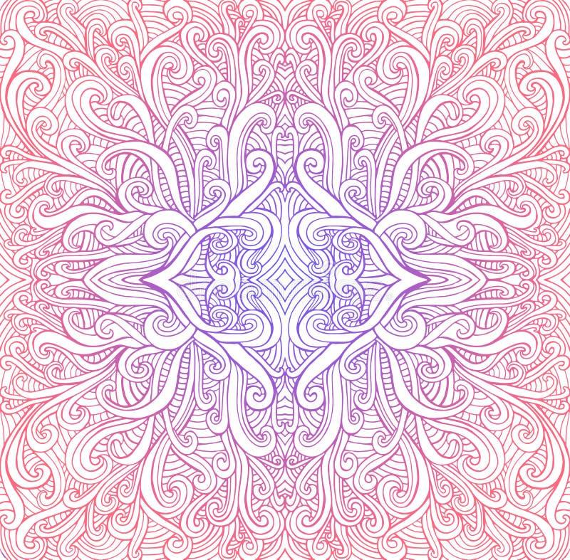 Le mandala coloré psychédélique de cru, vagues ornementent le fond Couleurs lumineuses de gradient, fond blanc d'isolement illustration de vecteur