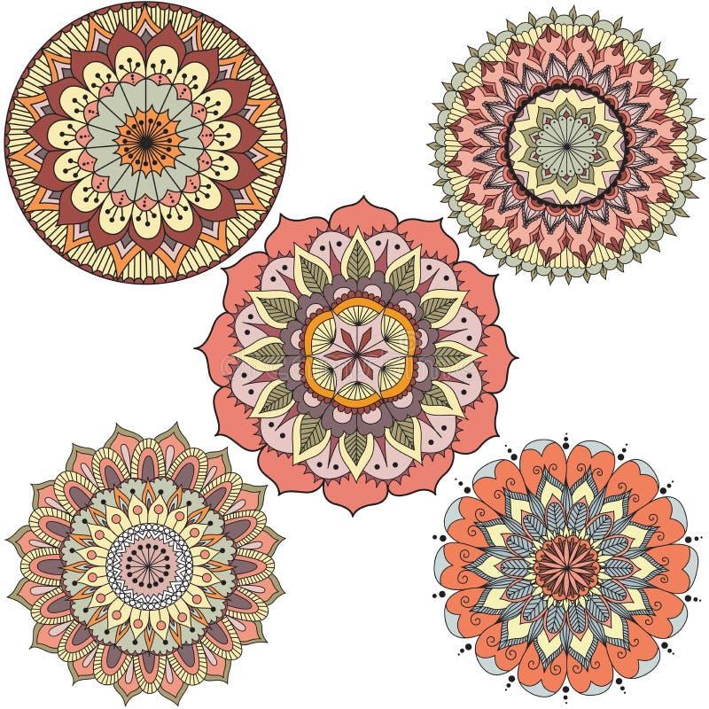 Le mandala floral coloré abstrait détaillé entoure pour l'élément de conception - vecteur courant illustration stock