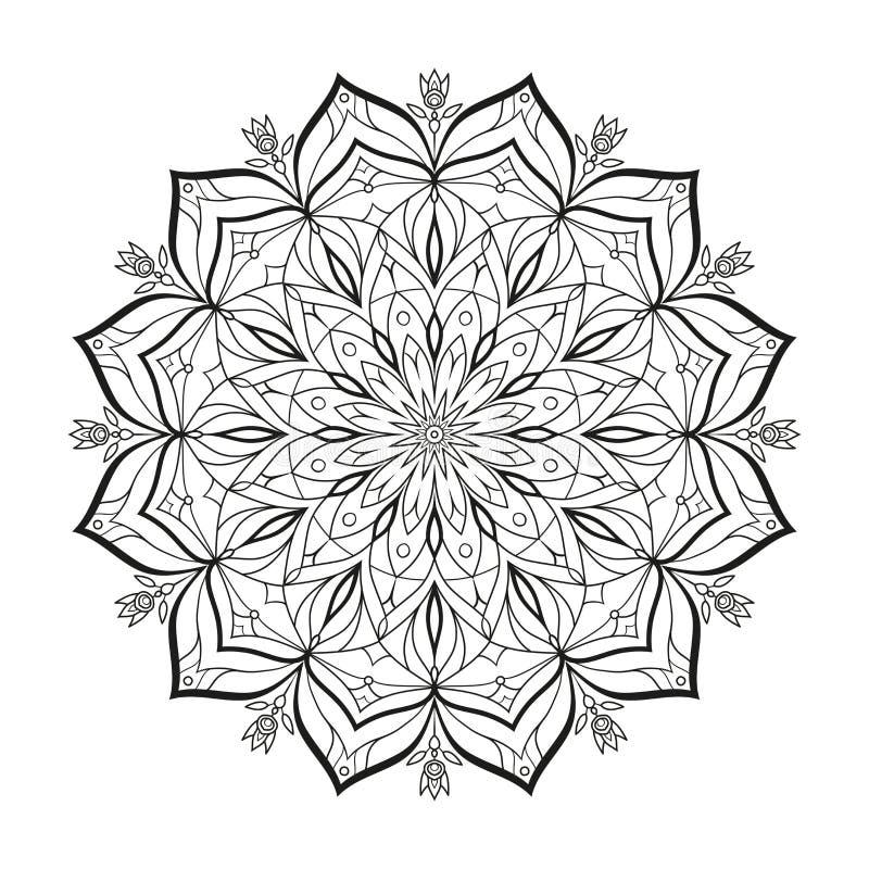 Le mandala monochrome de vecteur de fleur est isolé sur un fond blanc Élément décoratif avec des motifs est pour la conception illustration de vecteur