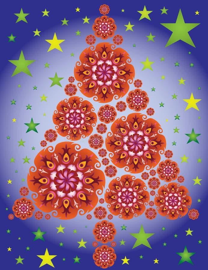 Le mandale dell'albero di Natale in colore rosso/cielo notturno Stars illustrazione vettoriale