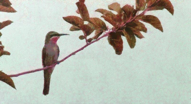 Le mangeur d'abeille, un mangeur d'abeille une journée de printemps tôt, oiseau de ressort style de peinture à l'huile illustration stock