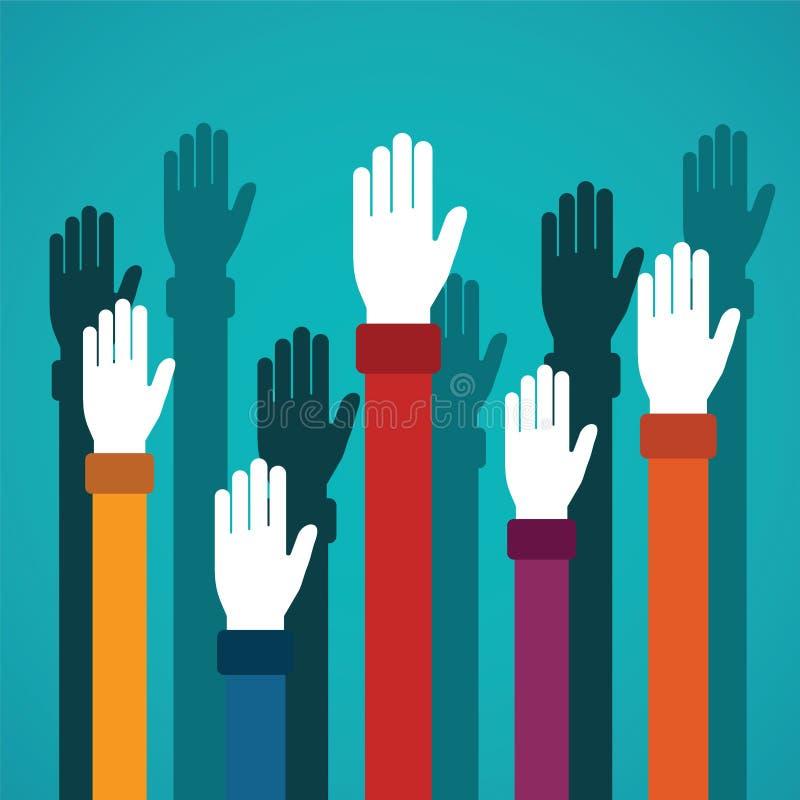 Le mani in aumento di voto vector il concetto nello stile piano illustrazione vettoriale