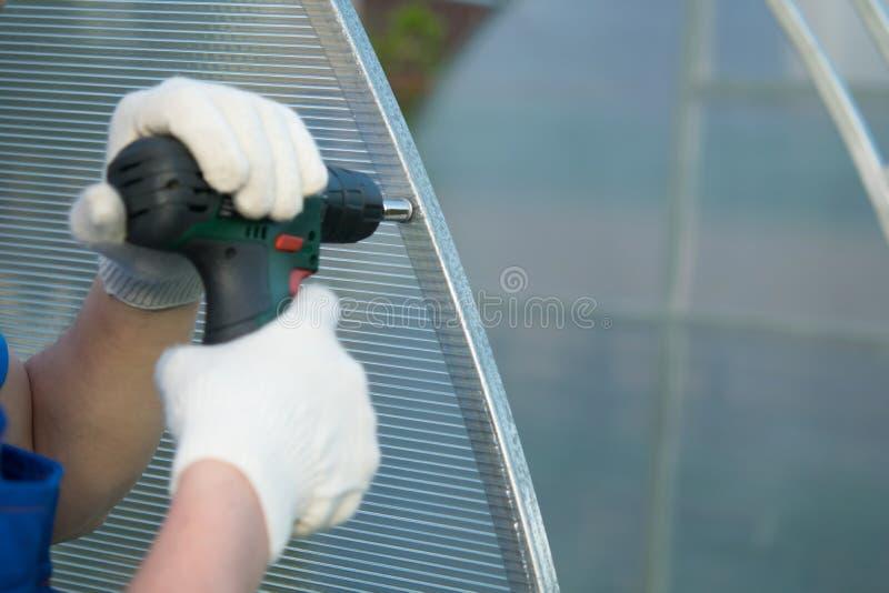 Le mani che funzionano con i guanti, facendo uso di un cacciavite elettrico collegano il policarbonato alla struttura della serra immagini stock libere da diritti