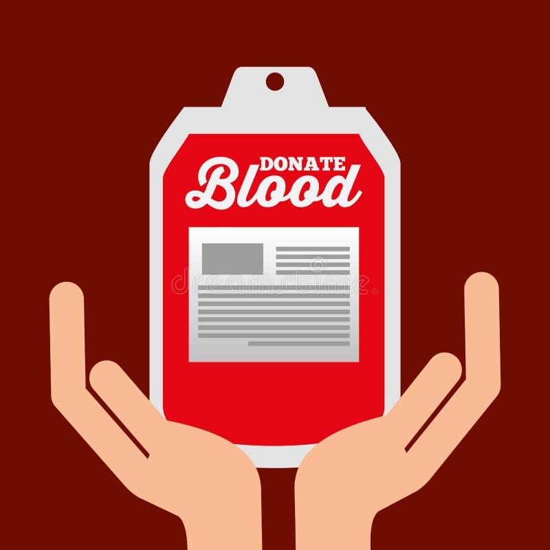 Le mani che tengono il sangue della borsa donano la cura illustrazione vettoriale