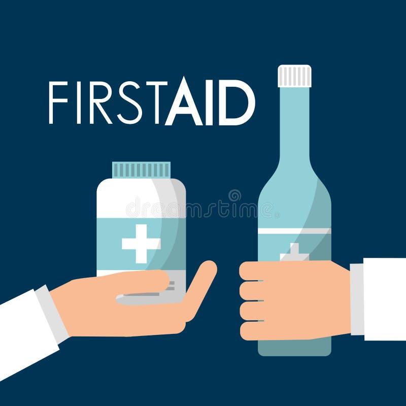 Le mani che tengono la bottiglia e la medicina dell'alcool si preoccupano il pronto soccorso illustrazione di stock