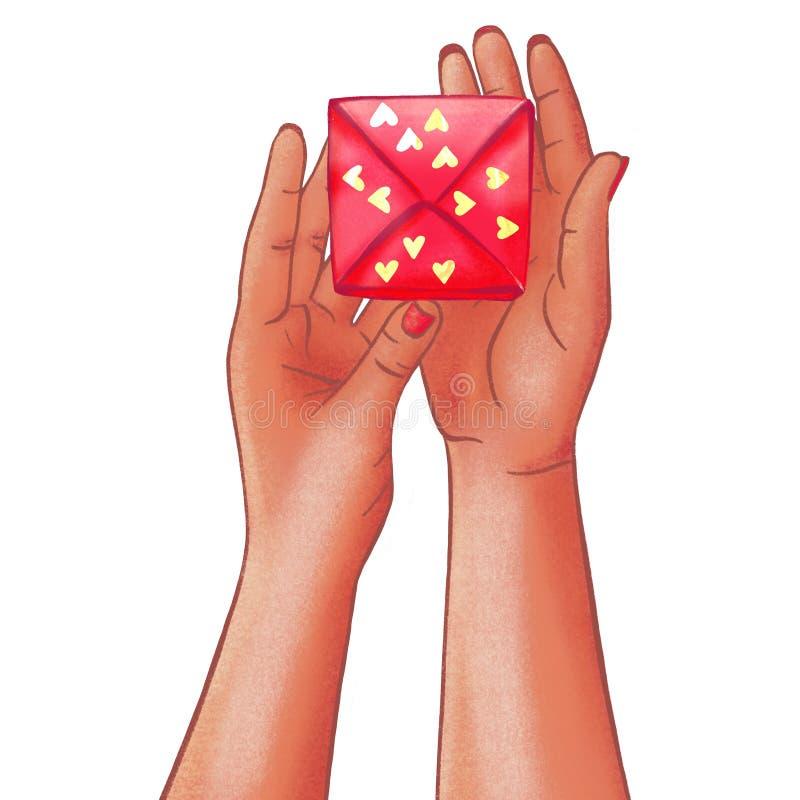 Le mani dalla carnagione scura della donna tirata che tengono il contenitore di regalo con un presente illustrazione vettoriale