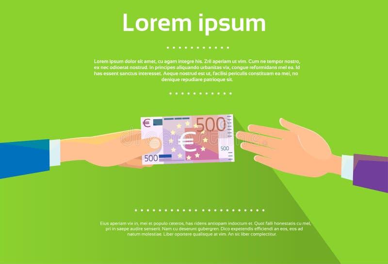 Le mani danno l'uomo d'affari Flat della banconota dell'euro 500 illustrazione di stock