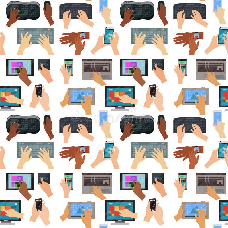 Le mani degli utenti sul fondo senza cuciture del modello del computer della tastiera toccano lo strumento di battitura a macchin illustrazione di stock