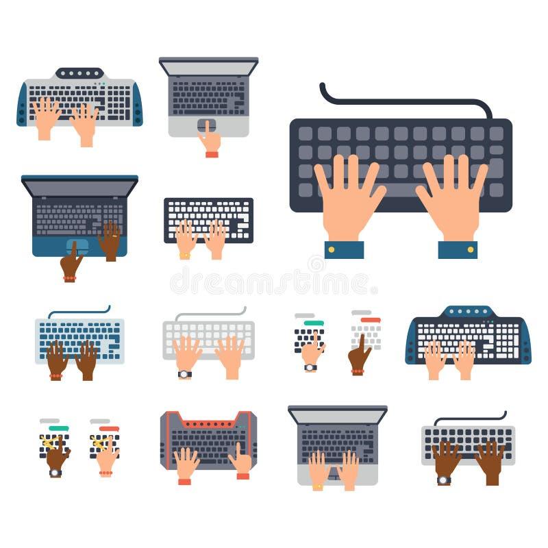 Le mani degli utenti sulla tastiera e sul topo dello strumento di battitura a macchina dell'attività di Internet di tecnologie in illustrazione vettoriale
