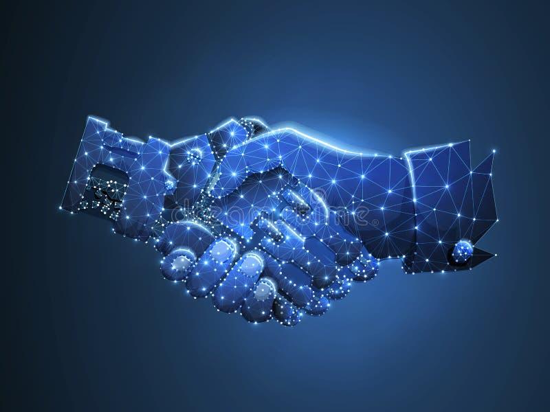 Le mani del robot e dell'essere umano stringono Affare futuro di concetto Poli basso poligonale Concetto futuro del wireframe Sci royalty illustrazione gratis