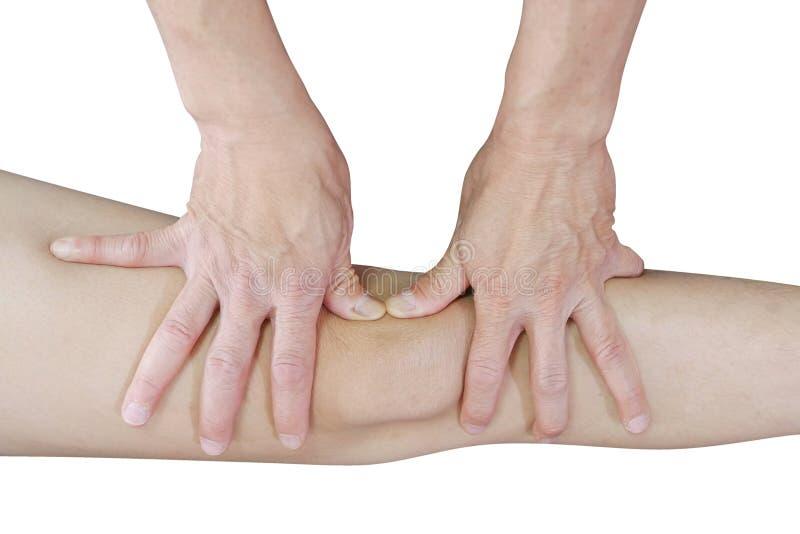 Le mani del terapista fisico trattano il ginocchio al paziente su fondo bianco, percorso di ritaglio immagini stock libere da diritti