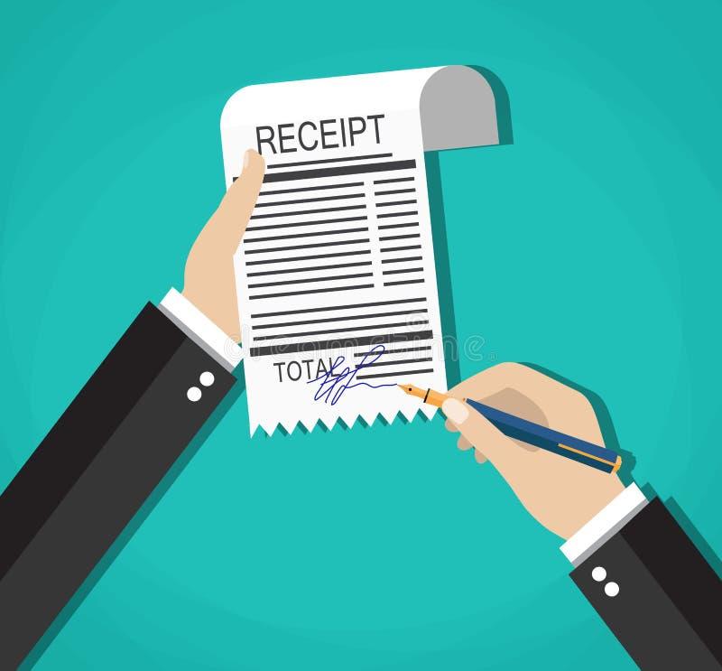 Le mani dell'uomo d'affari del fumetto con la fattura di pagamento del segno rilasciano una ricevuta, illustrazione vettoriale