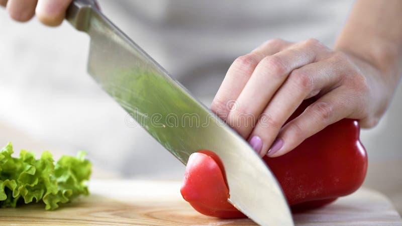 Le mani della donna che affettano pepe bulgaro, signora che cucina cena deliziosa per la famiglia fotografia stock libera da diritti