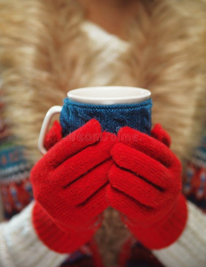 Le mani della donna con le unghie eleganti del manicure francese progettano la tenuta della tazza tricottata accogliente Concetto fotografie stock
