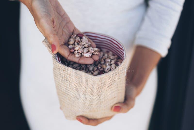 Le mani della donna con una manciata di fagioli macchiati crudi fotografie stock libere da diritti