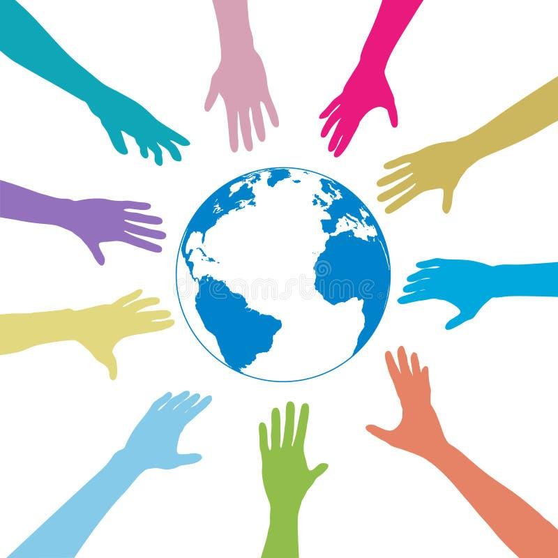 Le mani della gente di colori raggiungono fuori la terra del globo illustrazione vettoriale