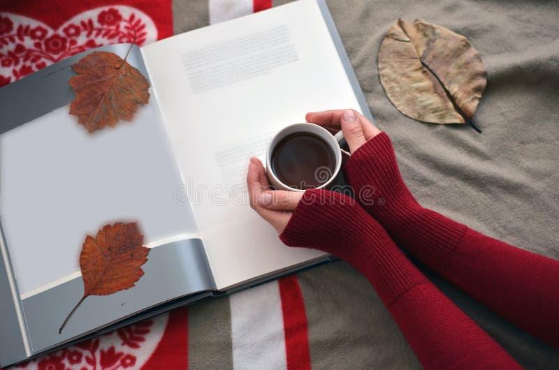 Le mani delle donne che tengono una tazza di caffè sul libro immagine stock libera da diritti