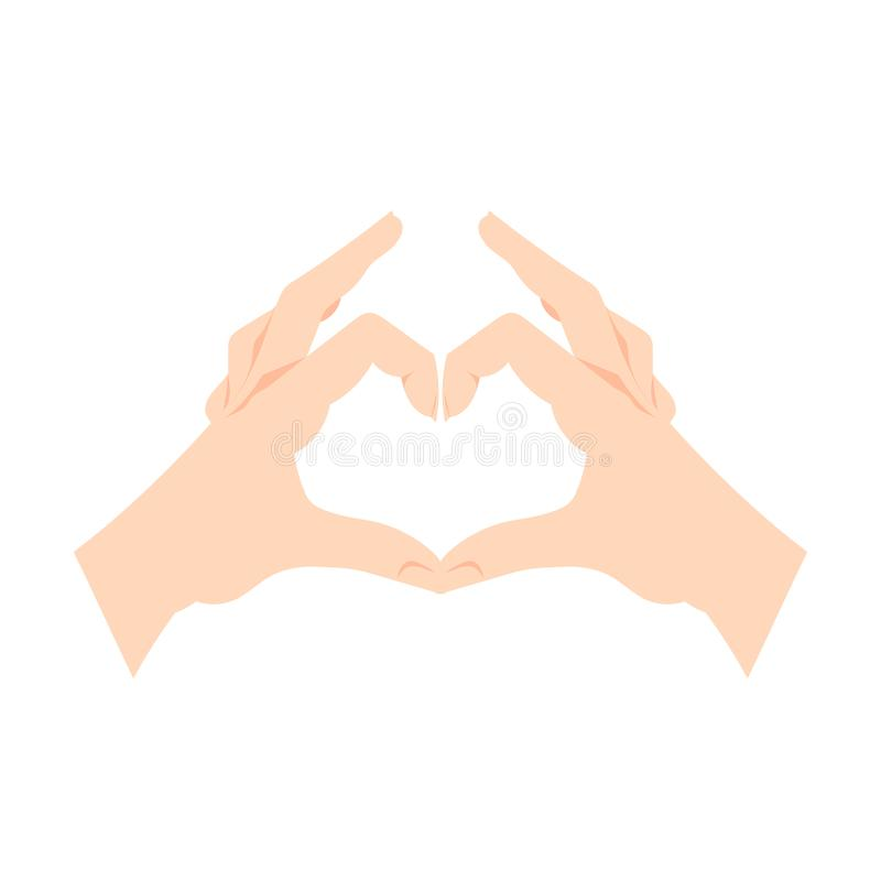 Le mani di gesto del cuore di vettore isolate su fondo bianco, mani umane fanno il simbolo di amore illustrazione di stock