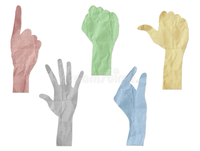 Le mani di gesto hanno riciclato il bastone del mestiere di carta fotografia stock libera da diritti