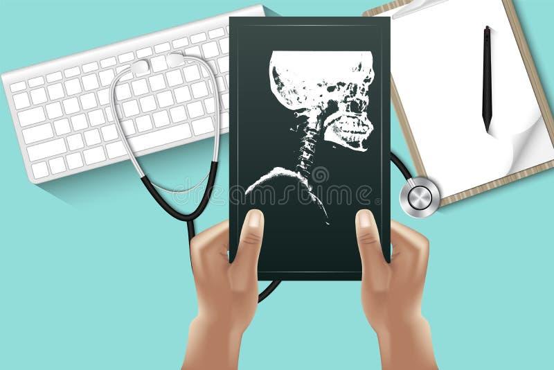 Le mani di medico sta tenendo la lastra radioscopica per l'esame sul desktop della tavola con attrezzatura personale , Concetto d illustrazione di stock