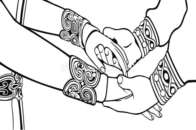 Le mani di nozze profilano l'illustrazione Libro di coloritura royalty illustrazione gratis