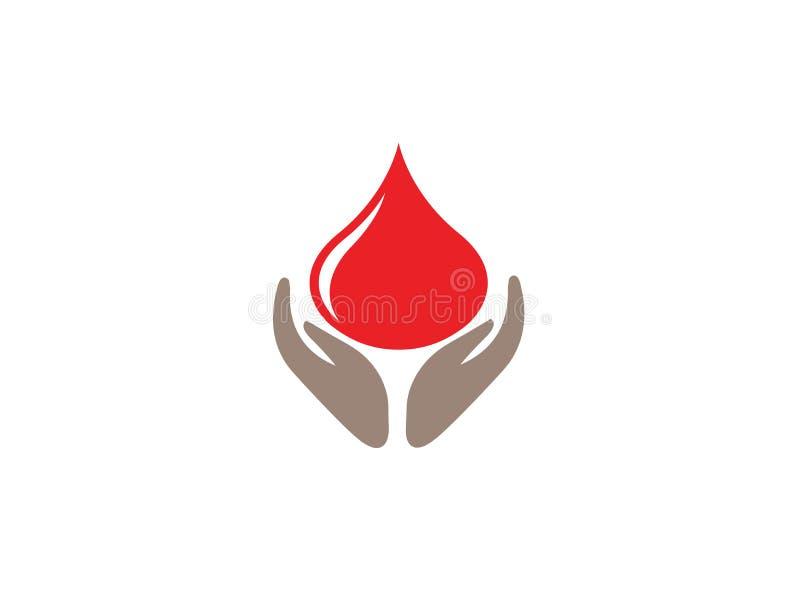 Le mani di simbolo di donazione tengono la goccia di sangue per l'illustrazione di progettazione di logo su un fondo bianco illustrazione di stock