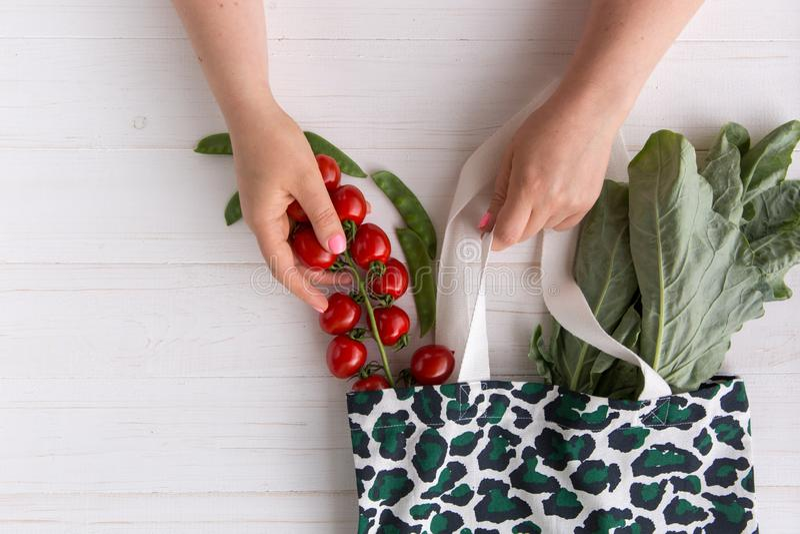 Le mani di una donna eliminano i pomodori organici freschi dal sacchetto della spesa di Eco con la stampa d'avanguardia del model immagini stock libere da diritti