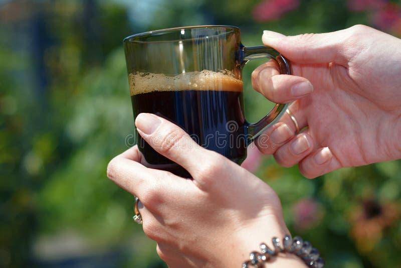 Le mani di una giovane donna che tiene una tazza di coffe nel giardino si sono accese da luce solare fotografie stock libere da diritti