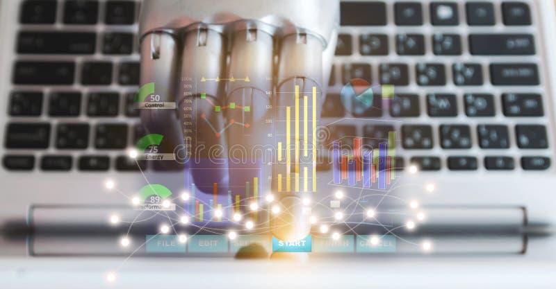 Le mani e le dita del robot indicano intelligenza artificiale della tecnologia robot del chatbot del consulente del bottone del c fotografia stock