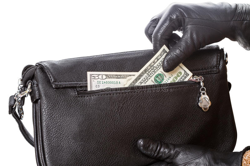 Mani in guanti e nei dollari neri fotografia stock libera da diritti