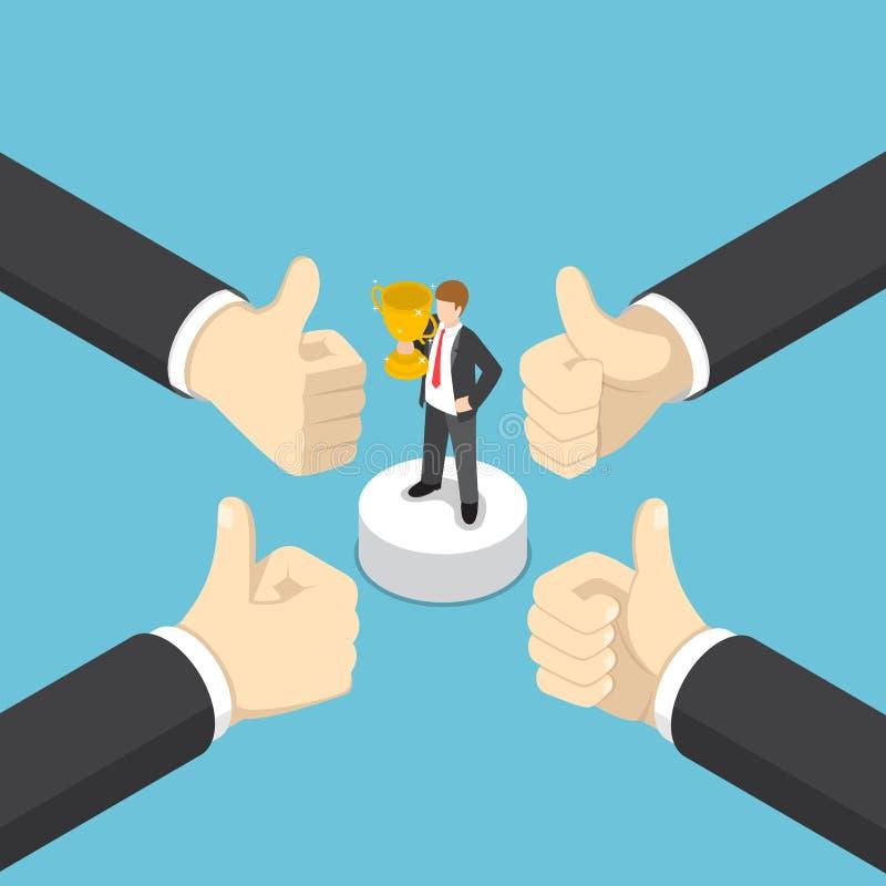 Le mani isometriche dell'uomo d'affari mostrano il pollice sul gesto del dito al busi illustrazione di stock