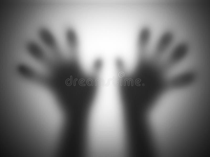 Le mani profila il vetro confuso commovente che grida per l'aiuto fotografia stock