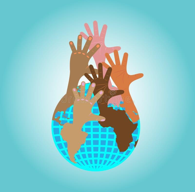 Le mani raggiungono su dal globo illustrazione vettoriale