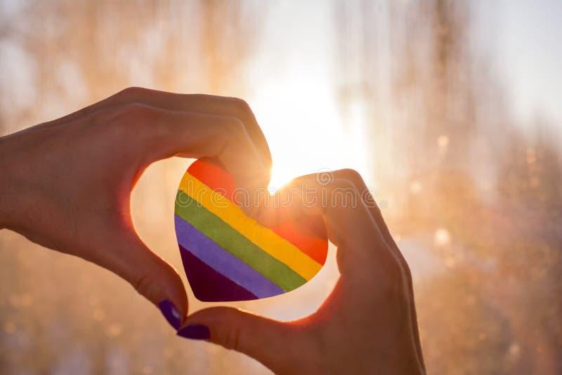 Le mani sotto forma di cuore giudica un cuore dipinto come una bandiera di LGBT immagini stock