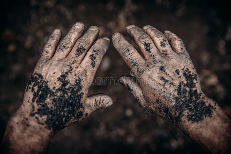 Le mani sporche del minatore tengono il carbone Estrazione mineraria di industria di concetto fotografia stock