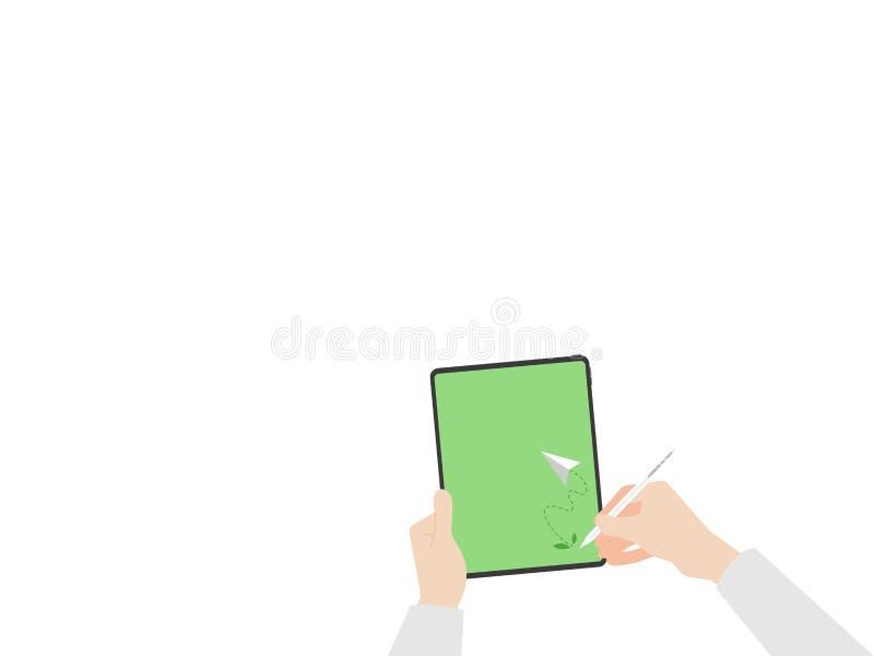Le mani tengono gli alberi della compressa e la mosca della carta del razzo intorno al logo senza carta per andare idea verde di  illustrazione di stock