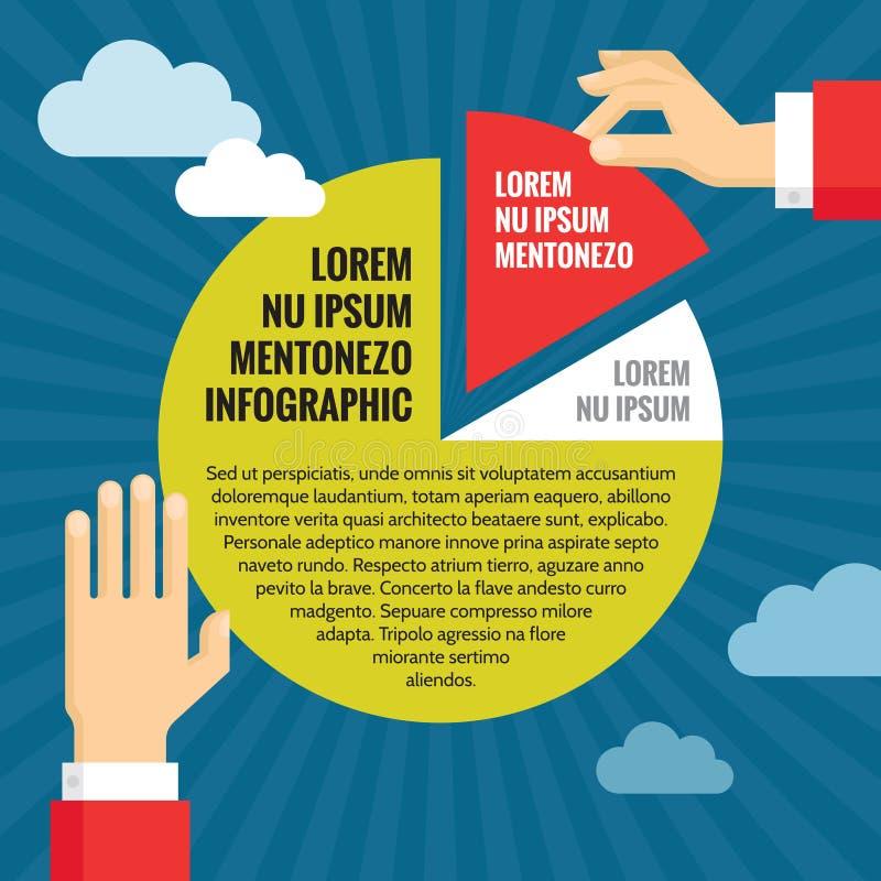 Le mani umane con il diagramma a torta - concetto di affari di Infographic - Vector l'illustrazione nella progettazione piana di  illustrazione vettoriale