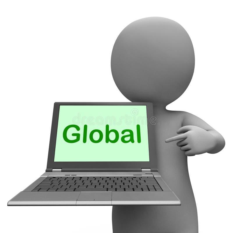 Le manifestazioni globali del computer portatile hanno collegato il raggiro continentale di globalizzazione royalty illustrazione gratis