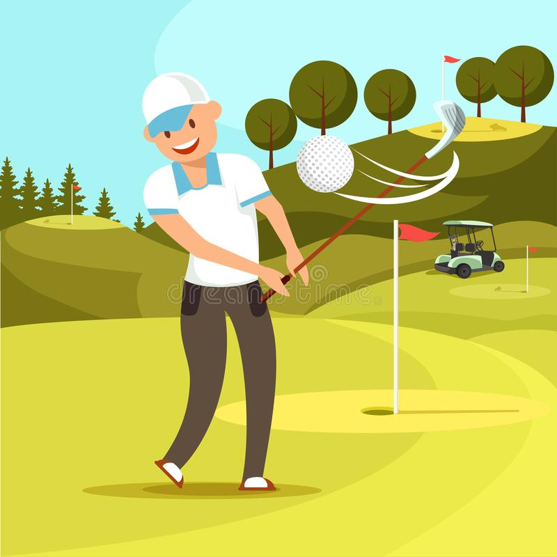 Le mannen i enhetlig slågen golfboll för vit sport royaltyfri illustrationer