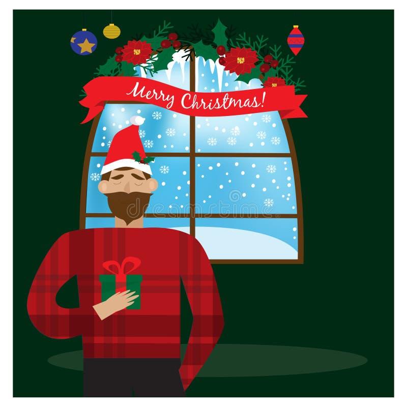 Le mannen i gåva för jul för röd hatt för jultomten hållande i hand Julfilial och klockor royaltyfri illustrationer
