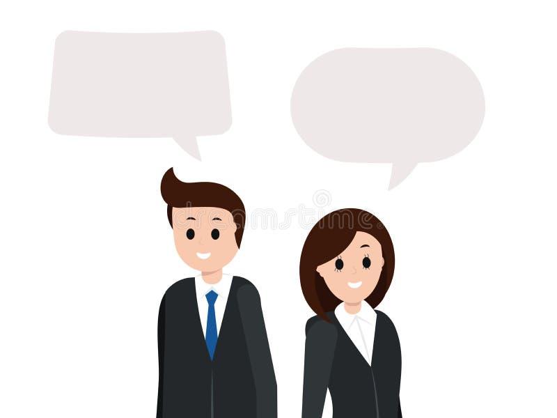Le mannen och kvinnan med tomt kopieringsutrymme royaltyfri illustrationer