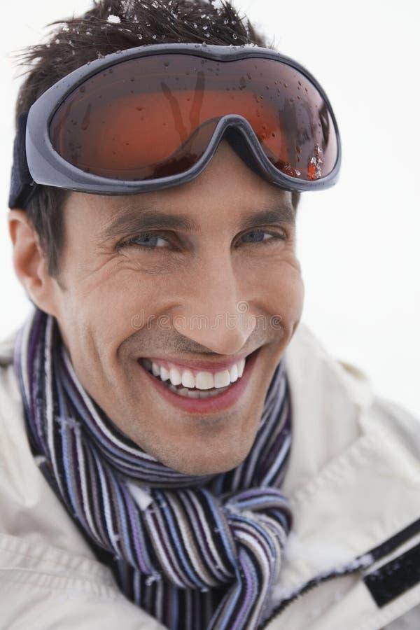 Le mannen som bär Ski Goggles royaltyfria foton