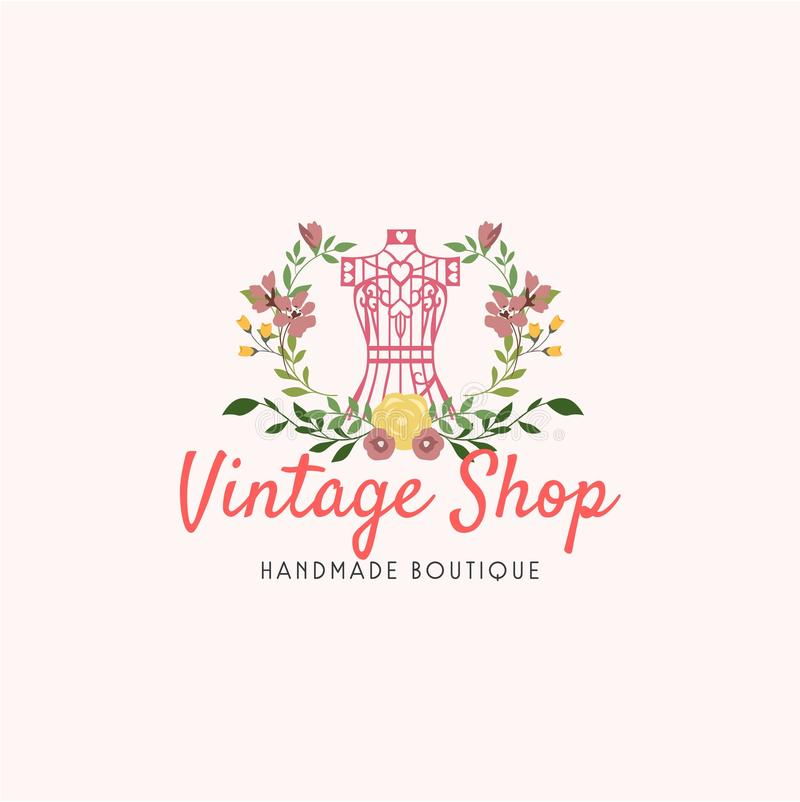 Le mannequin de fil de Sewing Vintage Needle de tailleur, façonnent le rétro logo simple illustration de vecteur